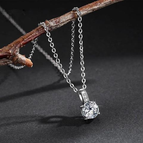 14K White Gold Plated Cubic Zirconia Diamond  Cable Chain Necklace