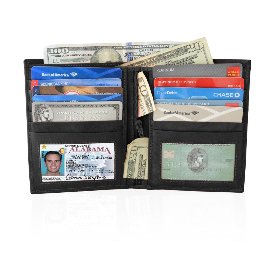 Deluxe RFID-Blocking Soft Genuine Leather Bifold Wallet For Men - Black