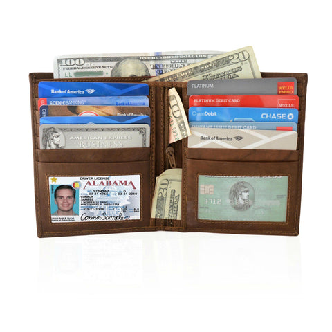 Deluxe RFID-Blocking Soft Genuine Leather Bifold Wallet For Men - Tan - WholesaleLeatherSupplier.com  - 10