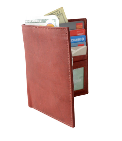 Deluxe RFID-Blocking Soft Genuine Leather Bifold Wallet For Men - Brown - WholesaleLeatherSupplier.com