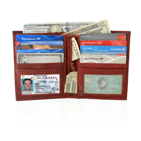 Deluxe RFID-Blocking Soft Genuine Leather Bifold Wallet For Men - Burgundy