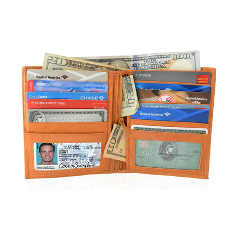 Deluxe RFID-Blocking Soft Genuine Leather Bifold Wallet For Men - Tan - WholesaleLeatherSupplier.com  - 1