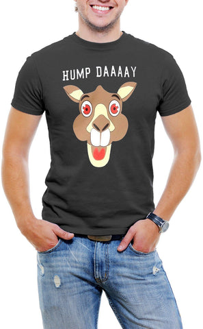AFONiE Hump Day! Camel Face Men T-Shirt Soft Cotton Short Sleeve Tee