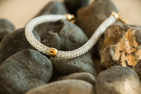 Stainless Steel White Mesh Bracelet with Gold Oval