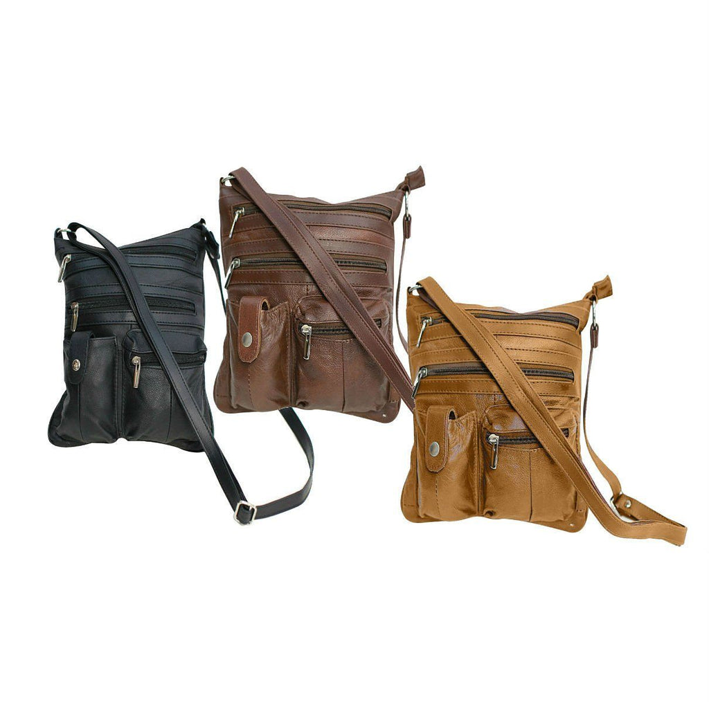 Travel with Style Genuine Leather Crossbody Bag - 3 Colors Available - WholesaleLeatherSupplier.com  - 1