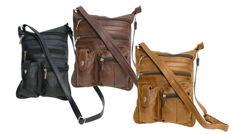 Travel with Style Genuine Leather Crossbody Bag - 3 Colors Available - WholesaleLeatherSupplier.com  - 6