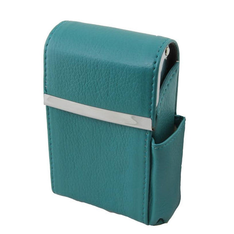 Genuine Leather Blue Flip Top Cigarette Case with Side Lighter Pocket