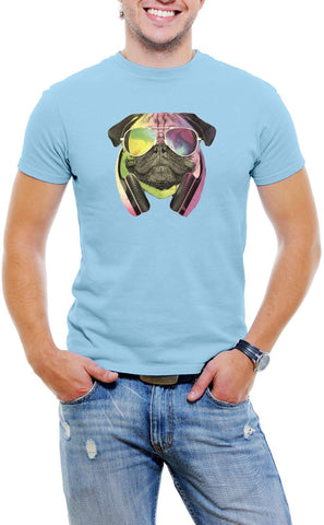 AFONiE Colorful D.J Pug Men T-Shirt Soft Cotton Short Sleeve Tee