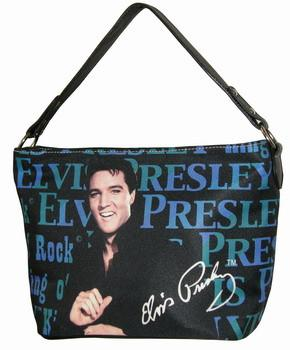Licensed Elvis Presley Black and Blue Handbag