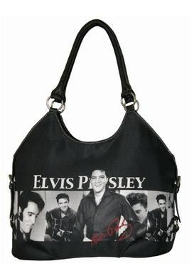 Licensed Elvis Presley Black Large Tote Purse