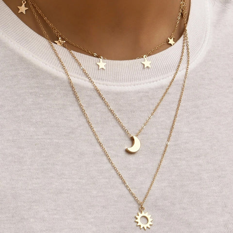 Gold Plated Sky Elegant Layered Necklace
