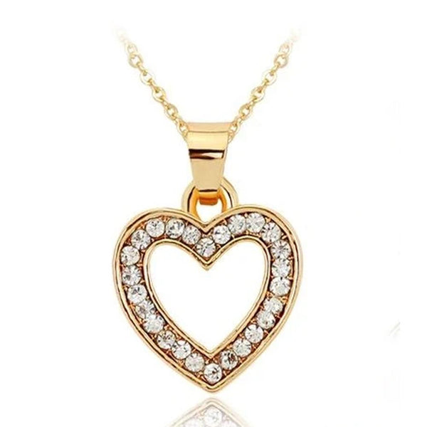 Beautiful Sparkly Gold Heart Necklace for Women