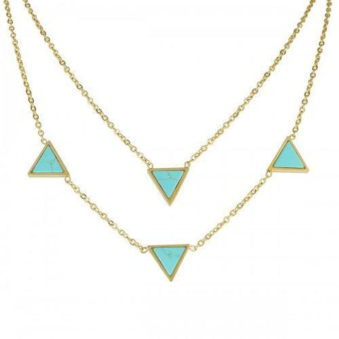 Stainless Steel Gold PVD Turquoise Triangle Stone Necklace