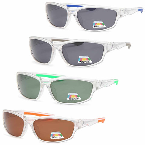 4 PACK Clear Active Wrap Polarized Lenses Sunglasses 4 Colors Pack