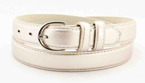 Luxury Genuine Leather Slim Belt - Silver Color - WholesaleLeatherSupplier.com  - 32
