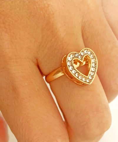 Gold Rhinstone Adjustable Heart Ring