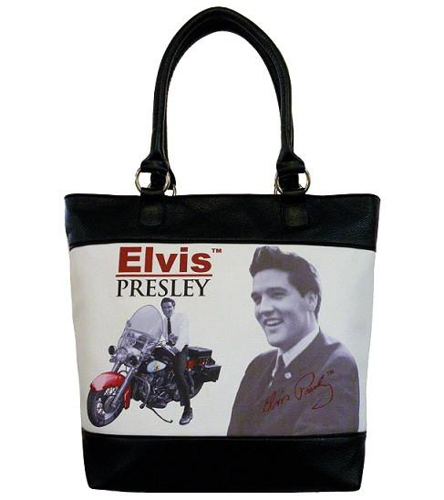 Licensed Elvis Presley Motorcycle Black and White Tote