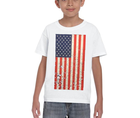 AFONiE-Kids USA Rustic Flag Graphic T-shirt-White Color