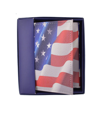 Handcrafted Trifold Men Leather Wallet USA Flag Print