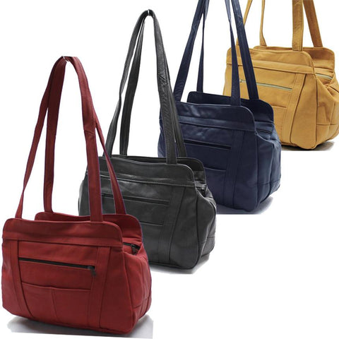 3 Compartments Tote Soft Leather Bag - 8 Colors