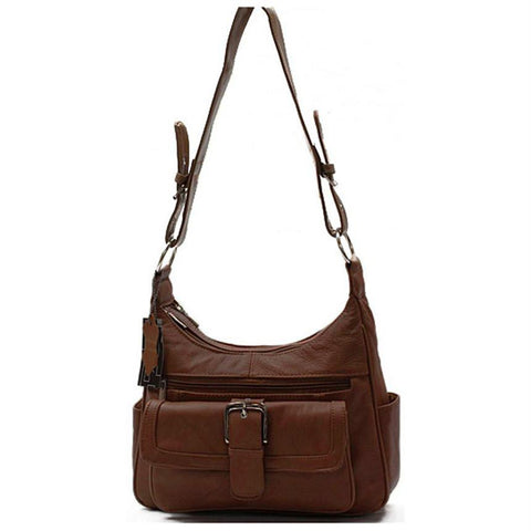AFONiE Soft Leather Buckle Accent Classic Brown Purse