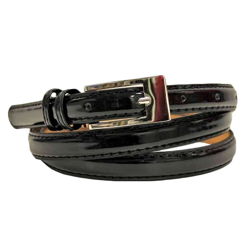 Women's Skinny Square Buckle Belt Black Colors - WholesaleLeatherSupplier.com  - 1