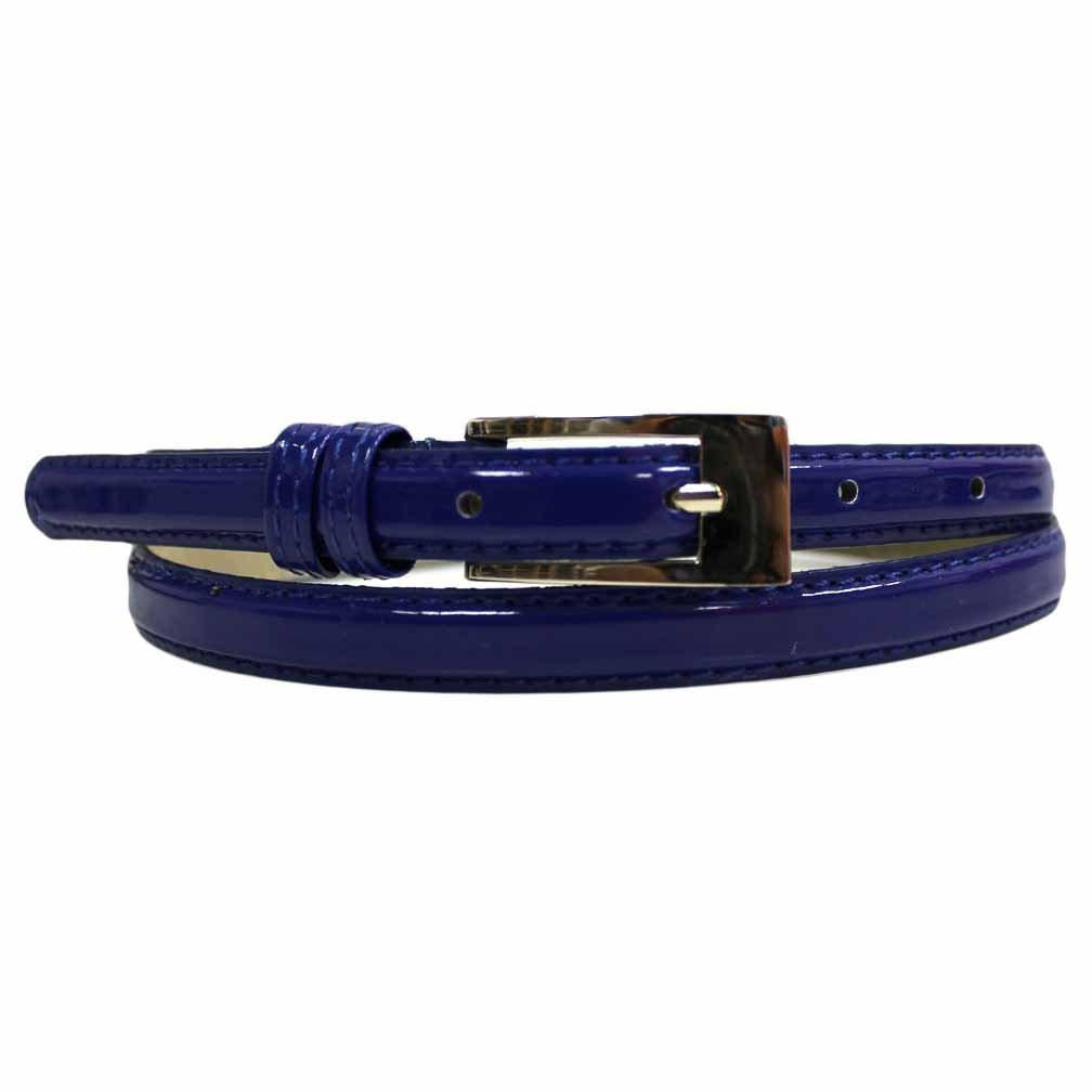 Women's Skinny Belt Square Buckle Navy Blue Color - WholesaleLeatherSupplier.com