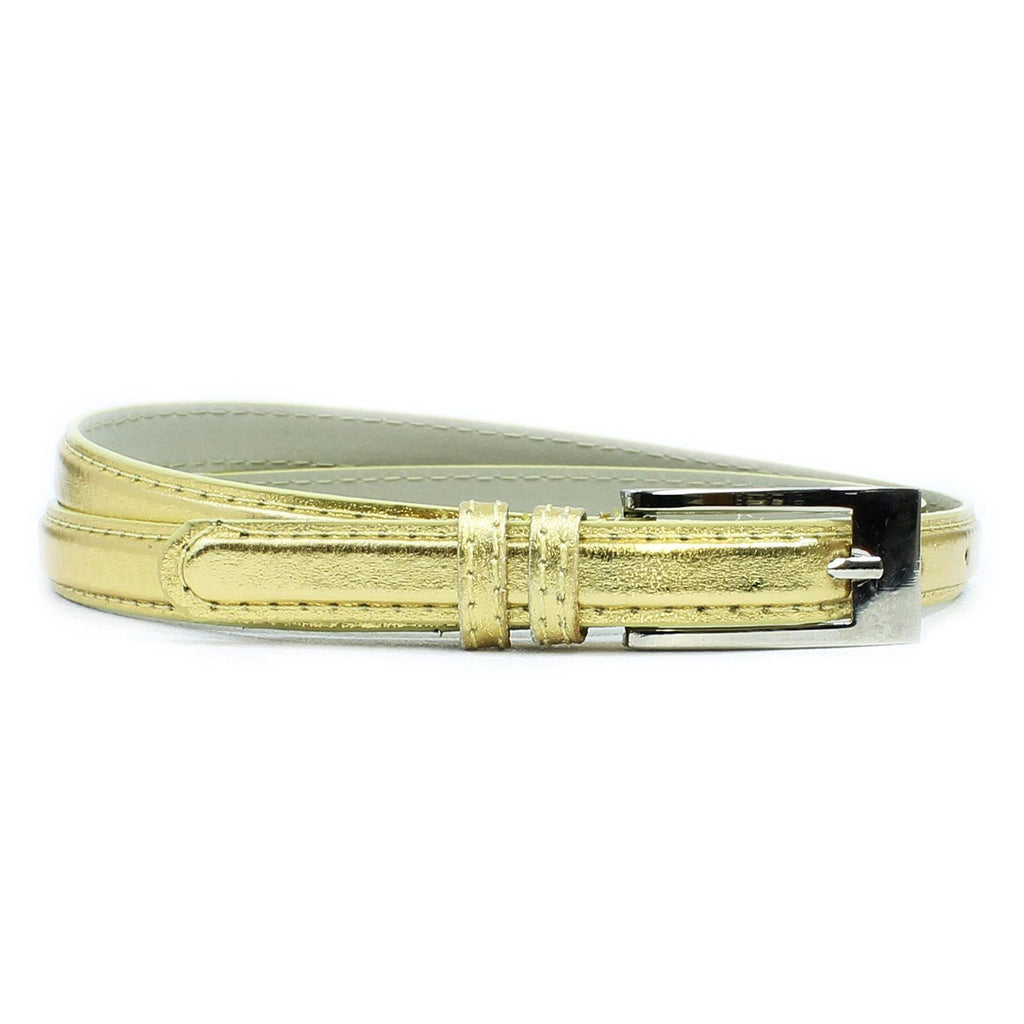 Women's Skinny Square Buckle Belt Gold Color - WholesaleLeatherSupplier.com  - 1