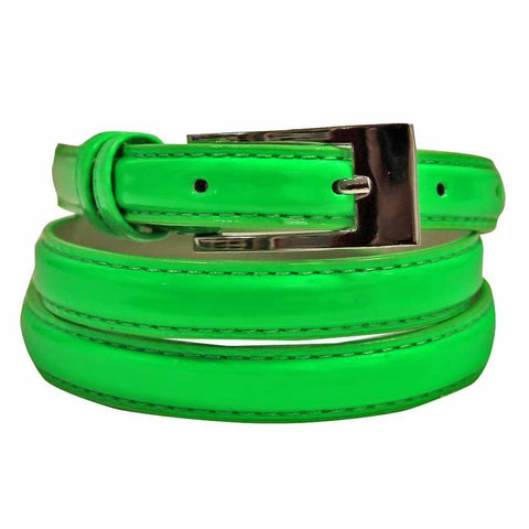 Women's Skinny Square Buckle Belt Green Color - WholesaleLeatherSupplier.com  - 1