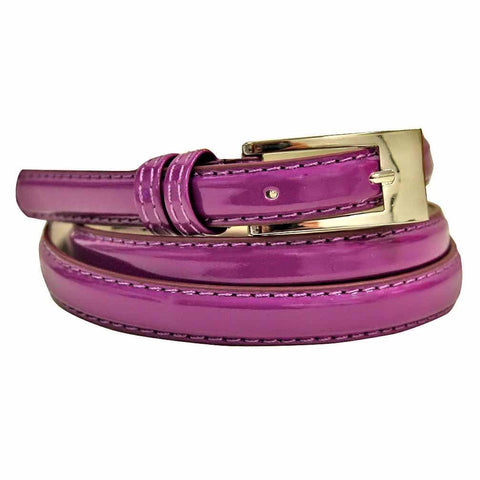 Women's Skinny Square Buckle Belt Gold Color - WholesaleLeatherSupplier.com  - 2
