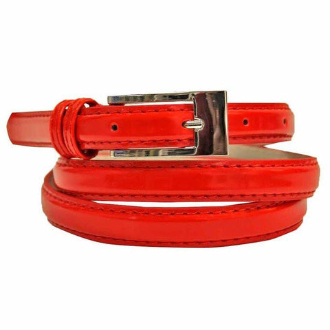 Women's Skinny Square Buckle Belt Grey Color Belts WholesaleLeatherSupplier.com Small Red