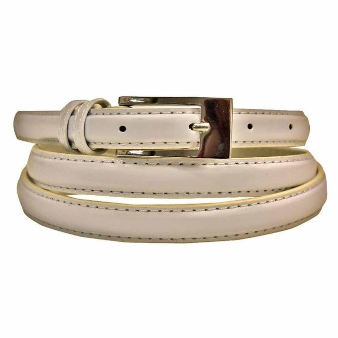 Women's Skinny Belt Square Buckle White Color