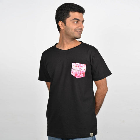 Men's Black Cherry Blossom Pocket T-shirt