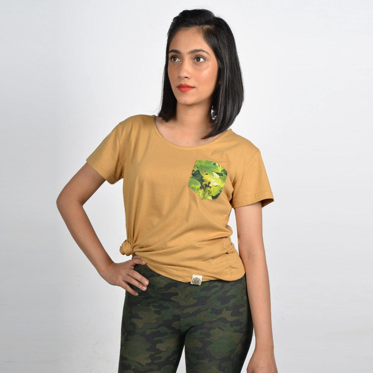 Women's Brown White Oak Pocket T-shirt