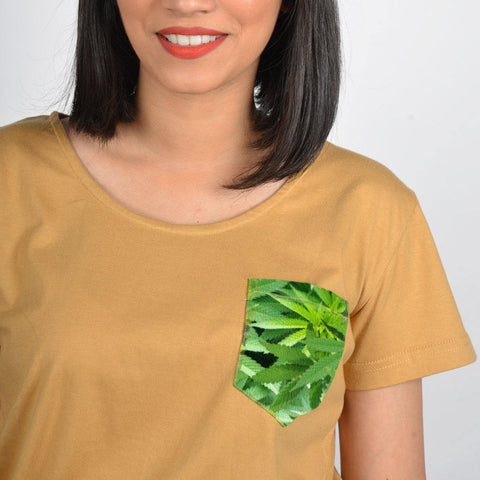 Women's Brown Cannabis Pocket T-shirt