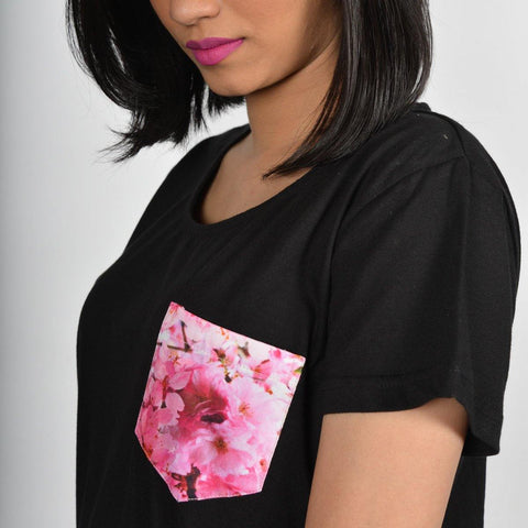 Women's Black Cherry Blossom Pocket T-shirt
