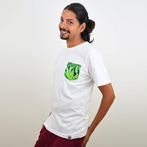 Men's White Cannabis Pocket T-shirt