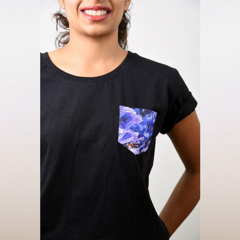 Women's Black Jacaranda Pocket T-shirt