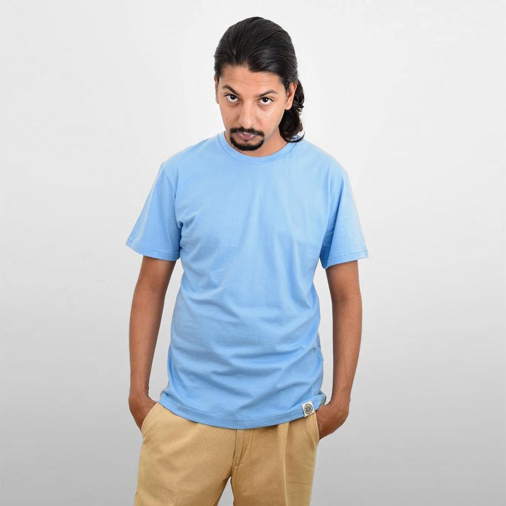 Men's Blue Plain T-shirt