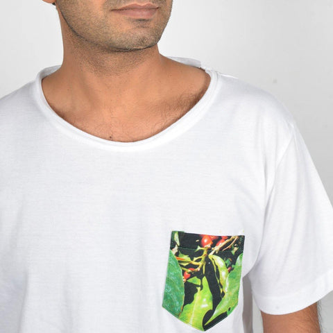 Men's White Coffee Pocket T-shirt