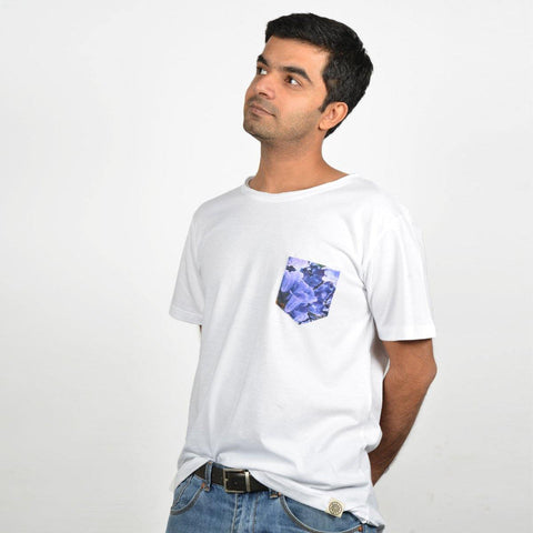 Men's White Jacaranda Pocket T-shirt