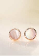 Load image into Gallery viewer, Lynx Regal Round Cat's Eye in Rose Gold Stud Earrings