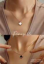 Load image into Gallery viewer, Adele Reversible Two Side Four Leaf Clover Pendant with White Mother Pearl and Black Ceramic Inlay in Rose Gold Chain Necklace