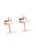 Load image into Gallery viewer, Krissy Dainty Cross in Rose Gold Stud Earrings