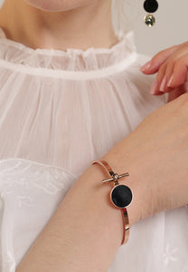 Lucie Round Black Stud Pendant Bangle in Rose Gold