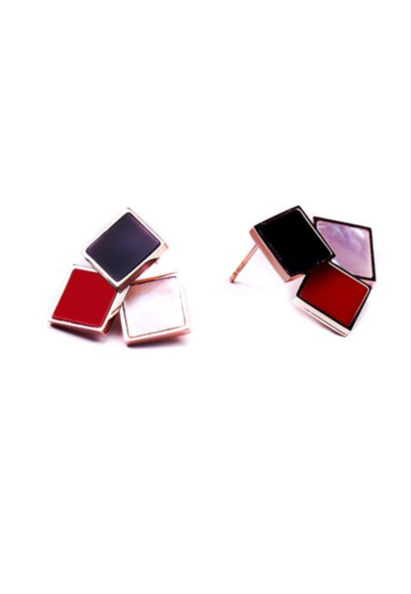 Gabrielle Trendy Tri-Color Geometric Square in Rose Gold Stud Earrings
