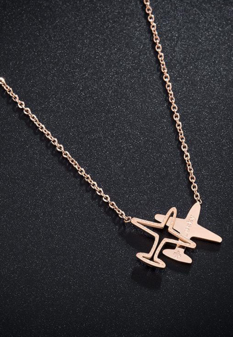 Skye Lucky Travel Double Airplane Pendant in Rose Gold Chain Necklace