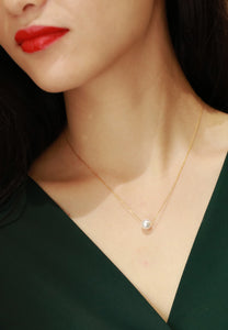 Maisie Dainty Pearl Pendant in Rose Gold Chain Necklace