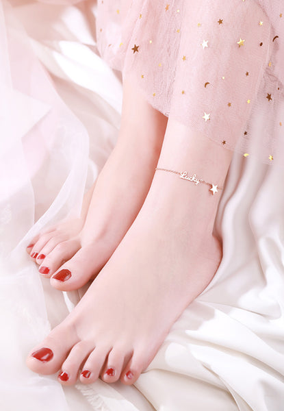 """You Are My Lucky Star"" 18K Rose Gold Anklet"