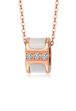 Load image into Gallery viewer, Colette with White Mother Pearl Rose Gold Necklace